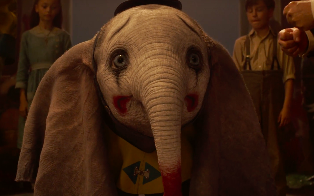 Baby Dumbo as a clown