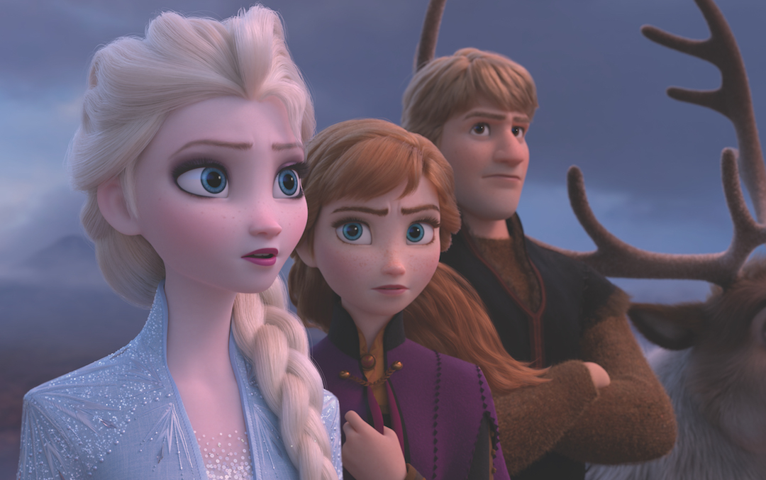Elsa, Anna, and Kristoff look out over a fjord in 'Frozen 2' (Credit: Disney/Pixar)