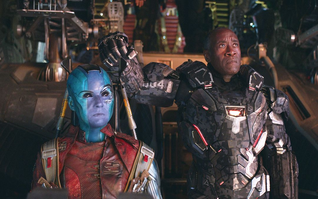 Karen Gillan and Don Cheadle as Nebula and War Machine (Courtesy: Marvel Studios)
