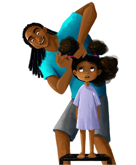 Stephen tries to do his daughter Zuri's hair in this concept art for 'Hair Love' (Courtesy: Matthew A. Cherry/Artist: Vashti Harrison)
